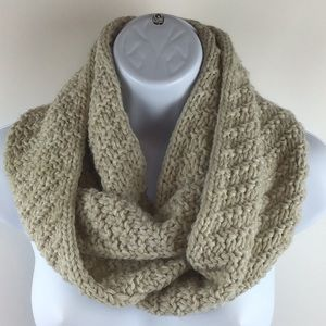Ecru Cable Knitted Infinity Scarf